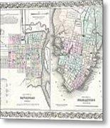 1855 Colton Plan Or Map Of Charleston South Carolina And Savannah Georgia Metal Print