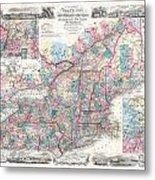 1856 Colton Pocket Map Of New England And New York Metal Print