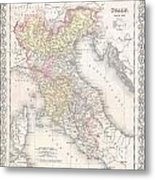1856 Desilver Map Of Northern Italy Metal Print