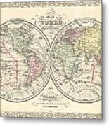 1856 Desilver Map Of The World  Metal Print