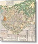 1856 Japanese Edo Period Woodblock Map Of Musashi Kuni Tokyo Or Edo Province Metal Print