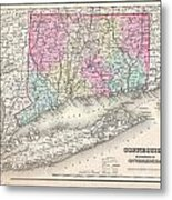1857 Colton Map Of Connecticut And Long Island Metal Print