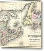 1857 Colton Map Of New Brunswick And Newfoundland Canada Metal Print