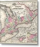 1857 Colton Map Of Ontario Canada Metal Print