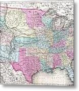 1857 Colton Map Of The United States  Metal Print
