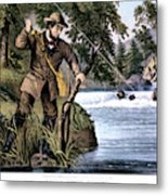 1870s Brook Trout Fishing - Currier & Metal Print