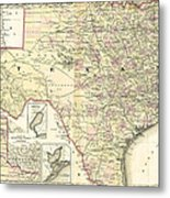 1873 Texas Map By Colton Metal Print