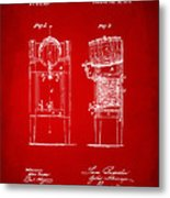 1876 Beer Keg Cooler Patent Artwork Red Metal Print
