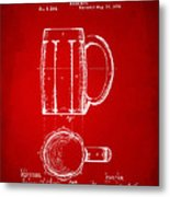 1876 Beer Mug Patent Artwork - Red Metal Print