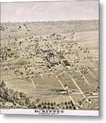 1876 Birds Eye Map Of Mckinney Texas Metal Print