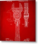 1878 Adjustable Wrench Patent Artwork - Red Metal Print