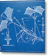 1879 Quinby Aerial Ship Patent Minimal - Blueprint Metal Print by Nikki Marie Smith