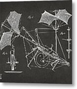 1879 Quinby Aerial Ship Patent Minimal - Gray Metal Print by Nikki Marie Smith