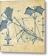1879 Quinby Aerial Ship Patent Minimal - Vintage Metal Print by Nikki Marie Smith
