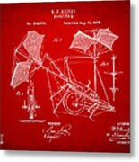 1879 Quinby Aerial Ship Patent - Red Metal Print
