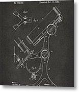 1886 Microscope Patent Artwork - Gray Metal Print