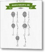1886 Tennis Racket Patent Drawing - Retro Green Metal Print
