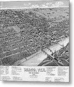 1886 Vintage Map Of Waco Texas Metal Print