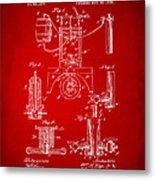 1890 Bottling Machine Patent Artwork Red Metal Print