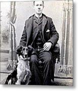 1890 Gentleman And His Dog Metal Print by Historic Image