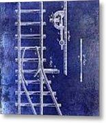 1890 Railway Switch Patent Drawing Blue Metal Print
