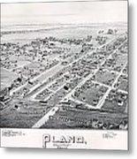 1890 Vintage Map Of Plano Texas Metal Print