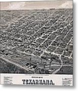 Vintage Perspective Map Of Texarkana Metal Print
