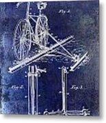 1891 Bicycle Patent Drawing Blue Metal Print