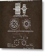 1891 Tesla Electro Magnetic Motor Patent Espresso Metal Print