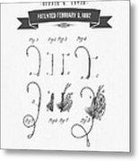 1892 Fishing Fly Patent Drawing Metal Print