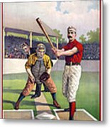 1895 Batter Up At Home Plate Metal Print