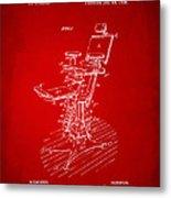 1896 Dental Chair Patent Red Metal Print
