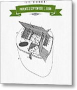 1896 Fishing Basket Patent Drawing - Green Metal Print