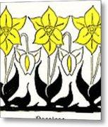 1897 Jugend Print Art Nouveau Motifs Flowers Narcissus Daffodil  Metal Print