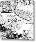1897 Jugend Print Sick Woman Recovery Guardian Angel By Bernhard Metal Print
