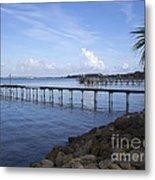 Melbourne Beach Pier In Florida Metal Print