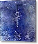 1900 Corkscrew Patent Drawing Blue Metal Print