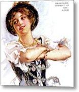 1900s 1913 Smiling German Girl Wearing Metal Print