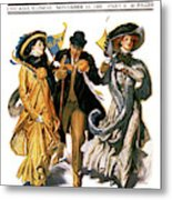 1900s Stylish Man With Two Women Metal Print