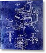 1901 Barber Chair Patent Drawing Blue Metal Print