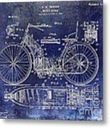 1901 Motorcycle Patent Drawing Blue Metal Print