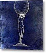 1901 Wine Glass Design Patent Blue Metal Print