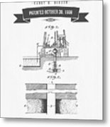 1906 Well Drilling Apparatus Patent Drawing - Retro Gray Metal Print
