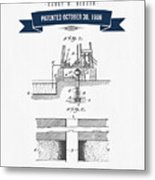 1906 Well Drilling Apparatus Patent Drawing - Retro Navy Blue Metal Print