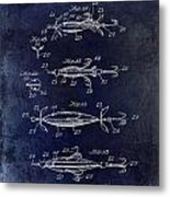 1907 Fishing Lure Patent Blue Metal Print