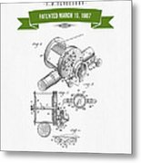 1907 Fishing Reel Patent Drawing - Green Metal Print