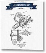1907 Fishing Reel Patent Drawing - Navy Blue Metal Print