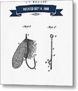1908 Fish Hook Patent Drawing - Retro Navy Blue Metal Print