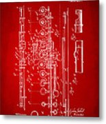 1908 Flute Patent - Red Metal Print