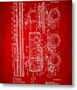 1909 Flute Patent In Red Metal Print